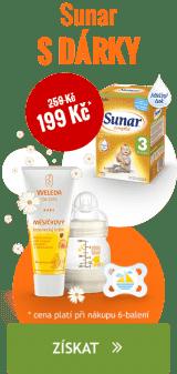 Za nákup produktů SUNAR, SUNÁREK, SUNARKA nad 2199 Kč získáte SET MAM+WELEDA v hodnotě 350 Kč jako dárek.