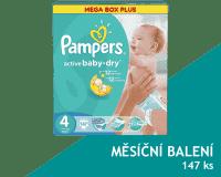 PAMPERS Active Baby 4 MAXI 147ks (7-14kg) MEGA Box PLUS, MĚSÍČNÍ ZÁSOBA - jednorázové pleny