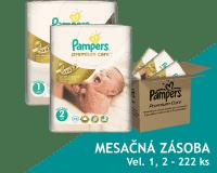 PAMPERS Premium Care 1 NEWBORN + Premium Care 2 MINI 222 ks, MĚSÍČNÍ ZÁSOBA - jednorázové pleny
