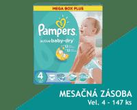 PAMPERS Active Baby 4 MAXI 147ks (7-14kg) MEGA Box PLUS, MESAČNÁ ZÁSOBA - jednorazové plienky