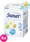 6x SUNAR Premium 2 (600 g) - dojčenské mlieko