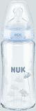 NUK First Choice+ láhev sklo 240 ml, silikon, velikost 1 (0-6 m), M – modrá