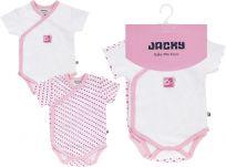 JACKY Zavinovací body s krátkým rukávem 2 ks Baby Girl, vel. 50/56 - růžová, holka