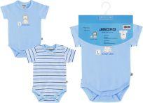 JACKY Body s krátkým rukávem Baby Boy 2 ks, vel. 50/56 - modrá, kluk