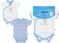 JACKY Zavinovací body s krátkým rukávem Baby Boy 2 ks, vel. 62/68 - modrá, kluk