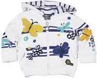 BOBOLI Mikina s odepínací kapucou, motýl, vel. 74 cm - bílá, holka