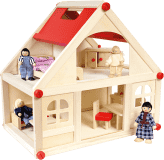 Bino Domček pre bábiky s vybavením, stredný