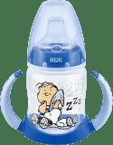 NUK FC Láhev na učení Snoopy - PP 150ml, silikonové pítko – modrá (Premium klub)