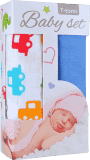 T-TOMI Baby set – bambusová osuška auta + bambusová osuška modrá
