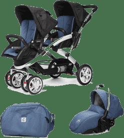 CASUALPLAY Zestaw Wózek dla bliźniąt Stwinner, 2x Fotelik samochodowy Sono i Torba 2016 - Lapis lazu