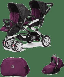 CASUALPLAY Zestaw Wózek dla bliźniąt Stwinner, 2x Fotelik samochodowy Sono i Torba 2016 - Plum