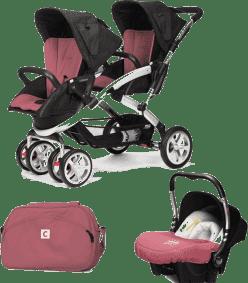 CASUALPLAY Zestaw Wózek dla bliźniąt Stwinner, 2x Fotelik samochodowy Baby 0plus i Torba 2015 - Bore