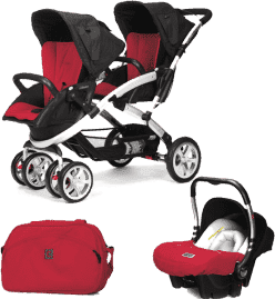 CASUALPLAY Set kočárek pro dvojčátka Stwinner, 2x autosedačka Baby 0plus a Bag 2015 - Raspberry