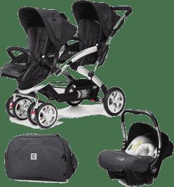 CASUALPLAY Set kočík pre dvojičky Stwinner, 2 x autosedačka Baby 0plus a Bag 2016 - Metal