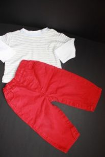 Tričko pruhované dl.rukáv a červené džíny