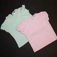 2x tričko zelenkavé a růžové