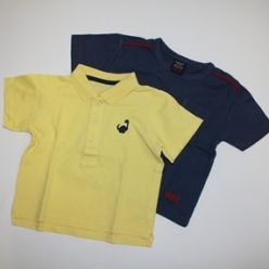 2x triko modré a žluté s límečkem
