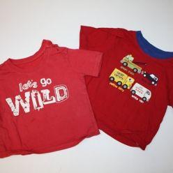 2 x červené tričko s potiskem