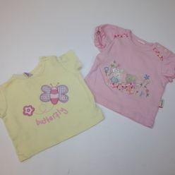 2x tričko růžové a žluté