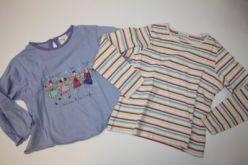 2 x triko pruhované a fialové s potiskem