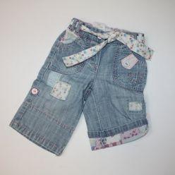 Kalhoty modré džínové s paskm látkovým