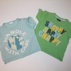 Zelené a modré tričko s potiskem