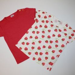 2 x tričko růžové a bílé s jahodami