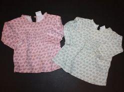 2 x tričko zelenkavé a růžové s květy