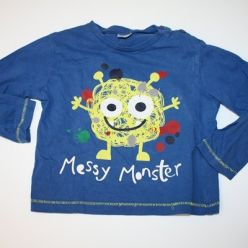 Triko modré s dlouhým rukávem a s obrázkem monstra