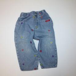 Kalhoty džínové s vyšitými kytičkami