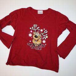 Tričko červené dl. rukáv vánoční sob
