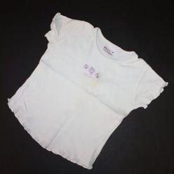 Tričko kr. rukáv bílé s kytičkou