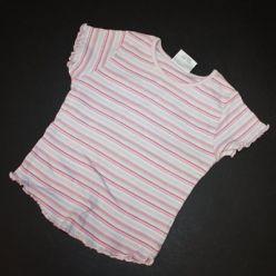 Tričko kr. rukáv pruhované růžové