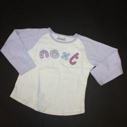 Tričko dl. rukáv bílo fialové s nápisem