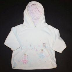 Mikina bílá flísová s kapucí a obrázkem