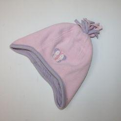 Flísová čepice růžová s obrázkem a střapcemi