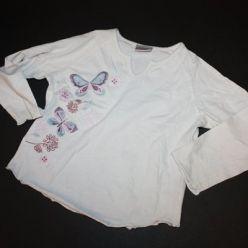 Tričko bílé s motýlkem dl. rukáv Next