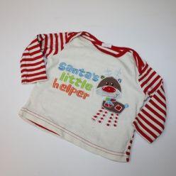 Tričko vánoční dl. rukáv bílo červené F&F
