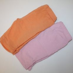 Tepláčky letní 2ks novorozenecké oranžové a růžové