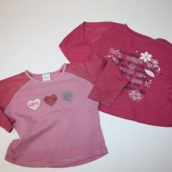 2x růžové tričko se srdíčky a nápisy