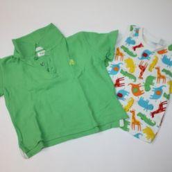 Tričko zelené s límečkem a tílko se zvířátky