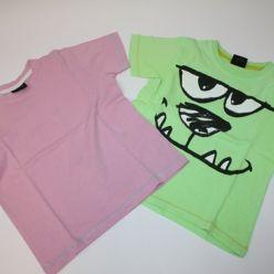 Trička 2ks růžové a zelené kr. rukáv