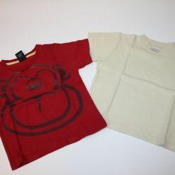 Trička 2ks červené a béžové kr. rukáv