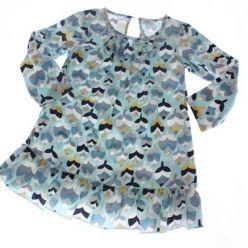 Manžestrové modré šaty body s barevnými listy