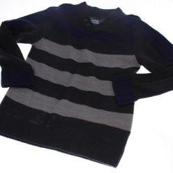 Pruhovaný svetr šedo fialový F&F
