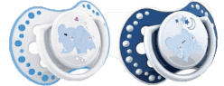 LOVI Šidítko silikonové dynamické NIGHT&DAY 0-3m 2ks modrý sloník