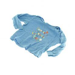 Triko s dlouhým rukávem - modré s nápisy
