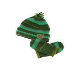 Zelená pruhovaná čepice a rukavice F&F