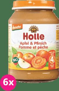 6x HOLLE Bio Broskyňa a jablko - ovocný príkrm, 190g