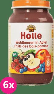 6x HOLLE Bio Lesné plody v jablku - ovocný príkrm, 220g